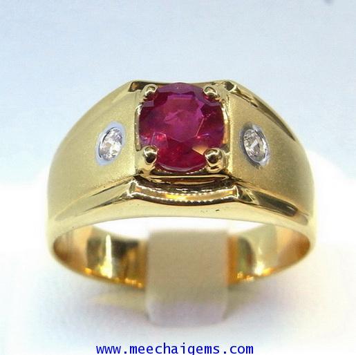แหวนพลอยทับทิมจันท์แท้ดีไซน์ผู้ชาย