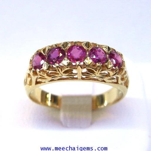 แหวนพลอยทับทิมจันท์แท้ฉลุลายไทย