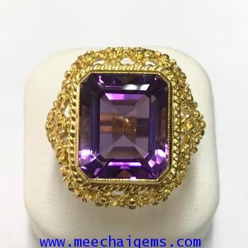 แหวนพลอยอเมทิสแท้ สีม่วงสด