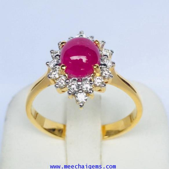 แหวนพลอยทับทิมพม่าแท้ล้อมเพชร