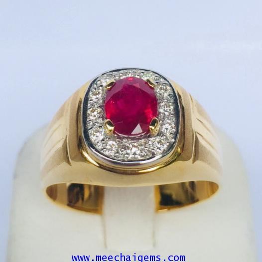 แหวนพลอยทับทิมจันท์แท้สีสวยมากล้อมเพชร