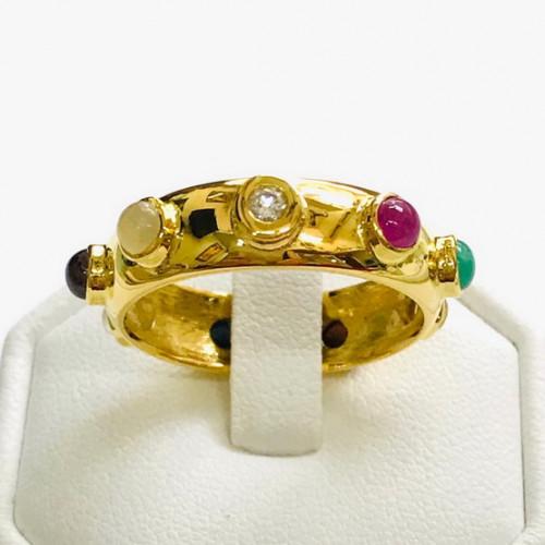 แหวนพลอยนพเก้าแท้ดีไซน์รอบนิ้ว