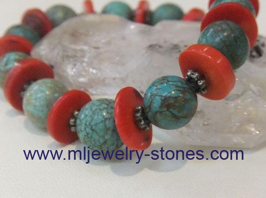 สร้อยข้อมือหินคริสโซคอลล่าสลับปะการังแดงและลูกเล่นเงินแท้