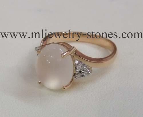 แหวนพลอยมุกดาหาร(มูนสโตน)ประดับเพชรแท้