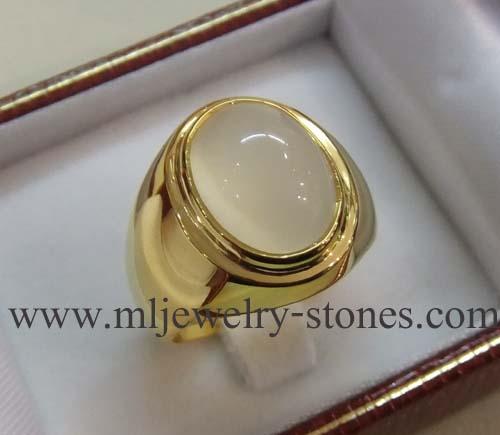 แหวนพลอยมุกดาหาร(มูนสโตน)ตัวเรือนทอง