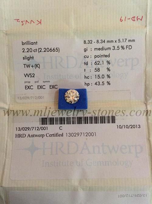 เพชร เบลเยี่ยม น้ำ 96 น้ำหนัก 2.20 cts. 3 EX พร้อมใบเซอร์ HRD
