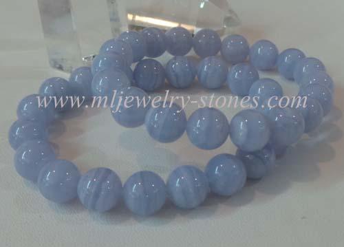 สร้อยข้อมือหินบลูเลซอาเกต  10 มิล(Bluelace agate)