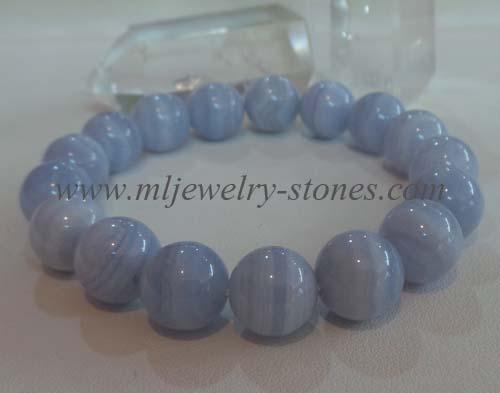 สร้อยข้อมือบลูเลซอาเกต(Bluelace agate) 12 มิล