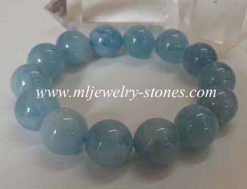 สร้อยข้อมือหินอความารีน(Aquamarine) 14 มิล