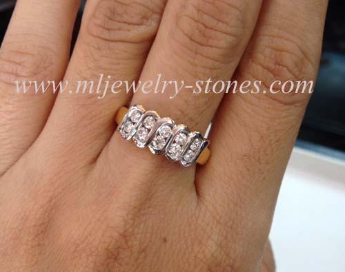 แหวนตาม้า 2 แถว เพชรแท้ น้ำ96-97 หนักรวม 0.50 cts ทอง 90
