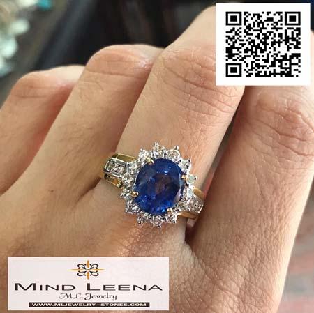 แหวนไพลินซีลอนล้อมเพชรแท้เบลเยี่ยมน้ำหนักรวม 0.54 cts.ไพลิน 4.0 กะรัต