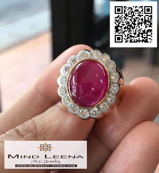 แหวนทับทิมแอฟสีทอปเกรดล้อมเพชรแท้เบลเยี่ยมน้ำหนักรวม 1.21 cts.