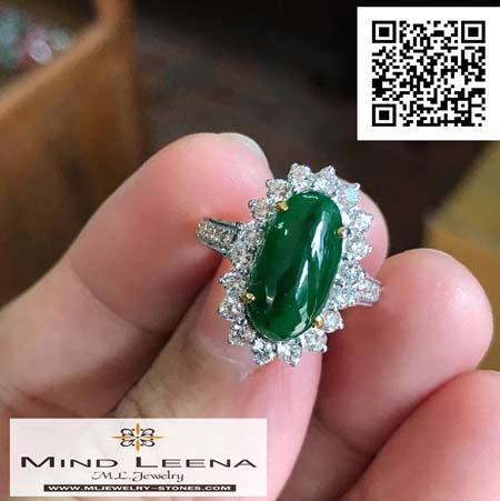 แหวนหยกพม่าล้อมเพชรแท้เบลเยี่ยมน้ำหนักรวม 0.71 cts.