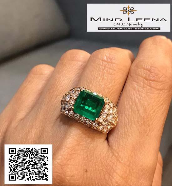 แหวนมรกตโคลัมเบีย สี Top ประดับเพชรแท้เบลเยี่ยม