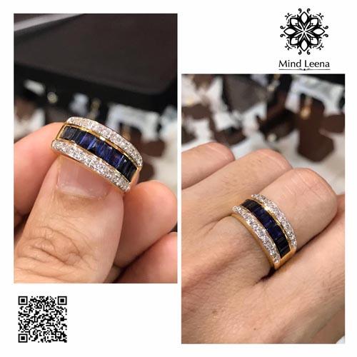 แหวนไพลินเจียรนัยทรงเหลี่ยม baguette (งานมือสอง)