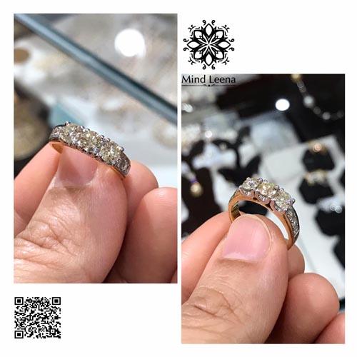 แหวนแท้เบลเยี่ยม ฝังเรียงแถว 3 เม็ด เพชรแท้น้ำหนักรวมประมาณ 0.99 cts. (งานมือสอง)