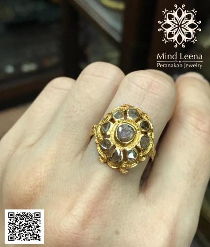 แหวนเพชรซีกโบราณ งานไทยแท้ไม่รองซับ