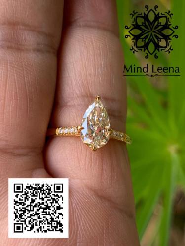 แหวนเพชรทรงลูกแพรเม็ดกลาง 1.01 cts.พร้อมใบเซอร์ GIA