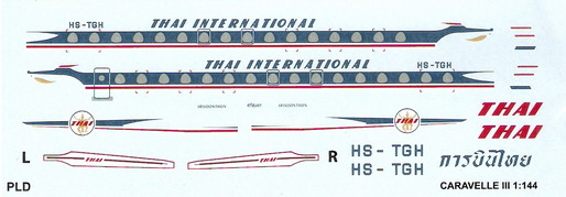 Caravelle III Thai 1/144 Decal for Airfix 1
