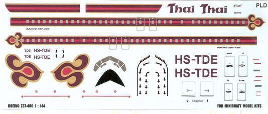 Boeing 737-400 Thai 1/144 Decal for Minicraft 1
