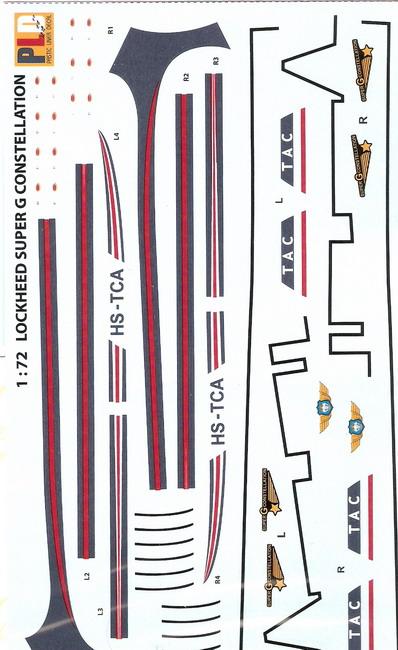 Lockheed Super Constellation L-1049 Super G 1/72 Decal 1