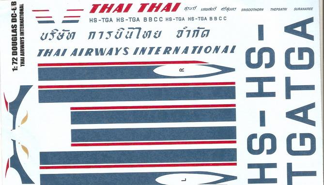 Douglas DC-6 Thai Airways International 1/72 Decal for Heller 1