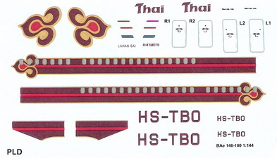 BAE 146-100 Thai 1/144 Decal for Revell 1