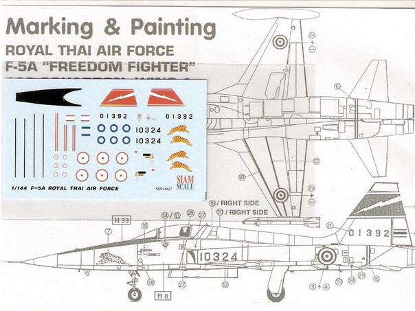 F-5A RTAF 1/144 Decal
