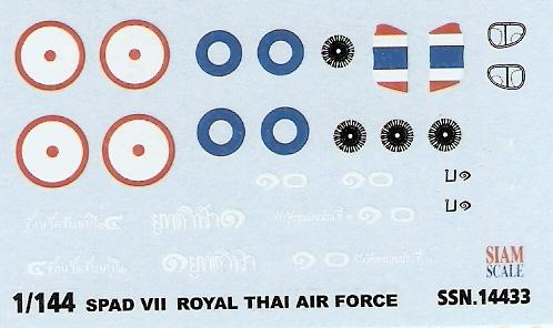 Spad VII RTAF 1/144 Decal