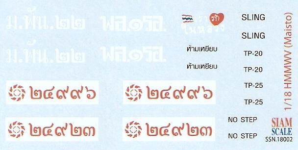 HMMWV Royal Thai Army 1/18 Decal for Maisto Diecast