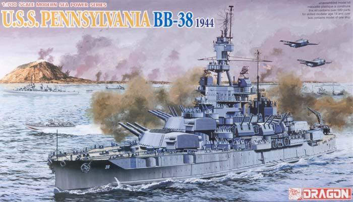 U.S.S. Pennsylvania BB-38, \quot;Super-dreadnought\quot; Battleship, 1944 1/700 Dragon