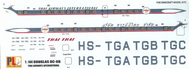 Douglas DC-6B Thai Airways International 1/144 Decal. 1