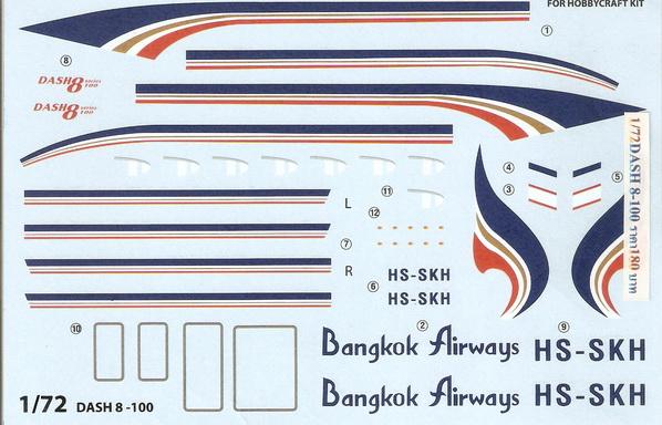 Dash 8-100 Bangkok Airways 1/72 Decal 1