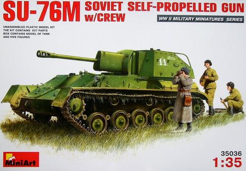 SU-76M Soviet Self-Propelled Gun w/ crew 1/35 MiniArt