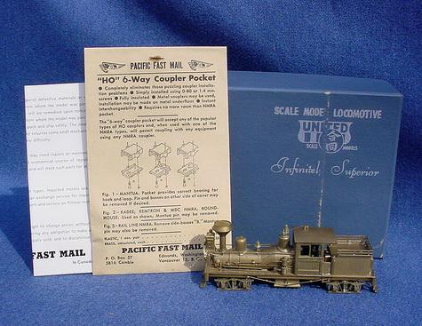 หัวรถจักรทองเหลือง SHAY 25 ton Benson Log Co. HO Scale United/PFM