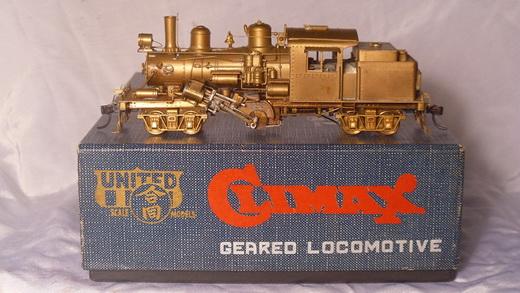 หัวรถจักรทองเหลือง CLIMAX Geared Locomotive HO Scale United/PFM