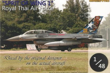 F-16B 102 Sqn. SPIRIT OF WING 1 RTAF (20th Anniversary) 1/48 Decal
