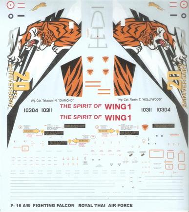 F-16A/B 103 Sqn. SPIRIT OF WING 1 RTAF (20th Anniversary) 1/32 Decal