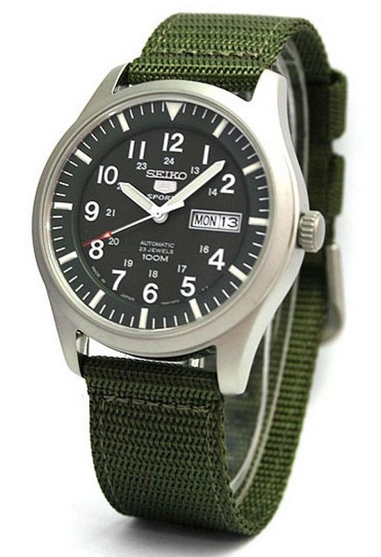 นาฬิกาทรงทหาร Seiko 5 SNZG09J1 Automatic Green Nylon