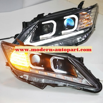 โคมไฟหน้า 2012 Camry C Type LED Head Light Angel Eyes TLZ V2