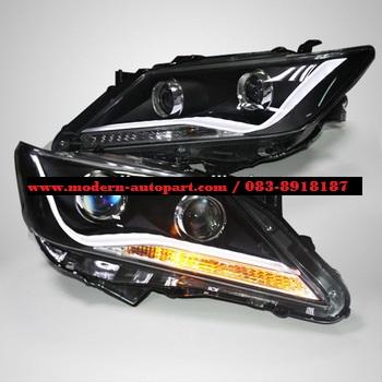 โคมไฟหน้า Camry 2012 LED Head Light Angel Eyes For TOYOTA 2012 LD V2