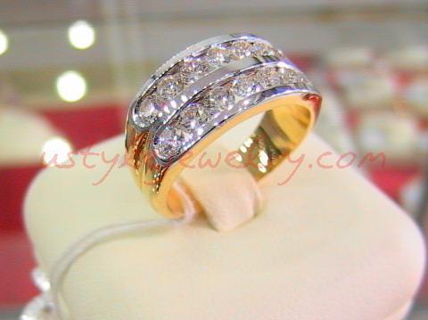แหวนทอง90 น้ำหนัก7.5กรัม เพชร1.01กะรัต/14เม็ด น้ำ97 VVS