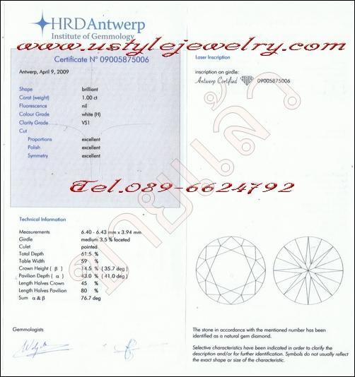 เพชรร่วง certificateจากHRD ขนาด1.00ct.น้ำH(96) ความสะอาดvs1 3Excellent(คุ้มค่า)