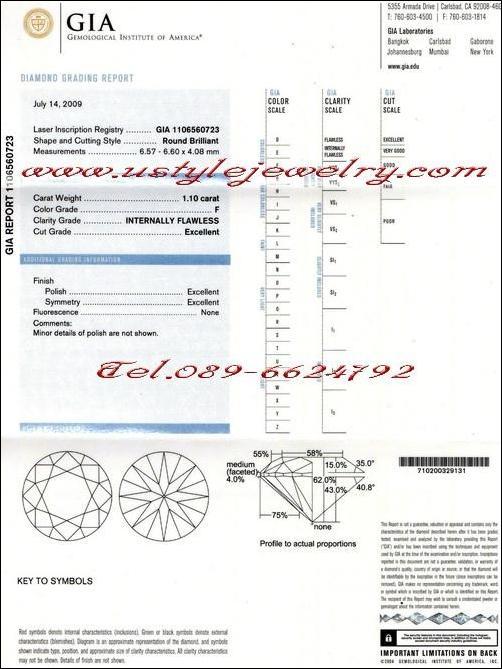 เพชรร่วง certificateจากGIA ขนาด1.10ct.น้ำF(98) ความสะอาดIF(ไร้ตำหนิ) 3Excellent