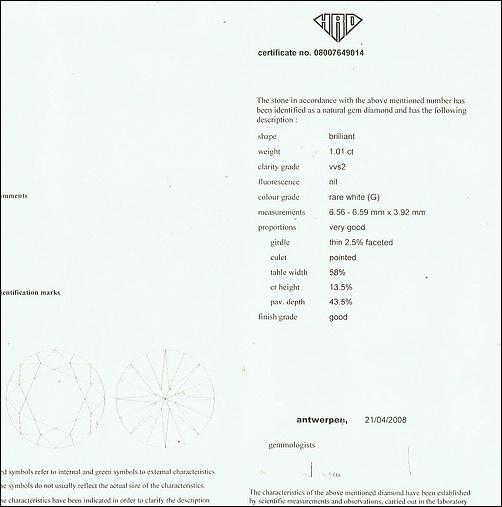 เพชรร่วง certificateจากHRD ขนาด1.01ct.น้ำG(97) ความสะอาดvvs2 VG-G