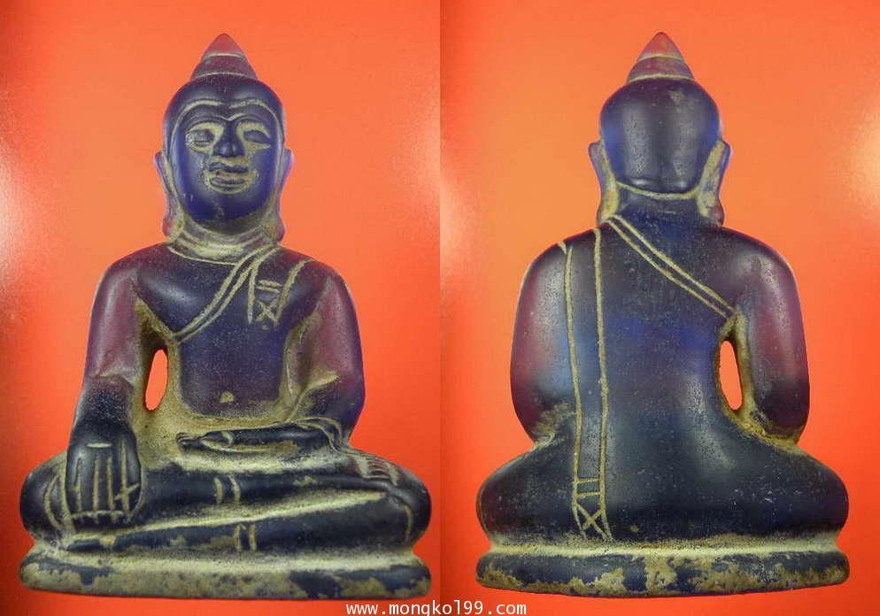 พระบูชา พระหินแกะ เป็นพระแก้ว สีน้ำเงิน หน้าตัก 2.5 นิ้ว