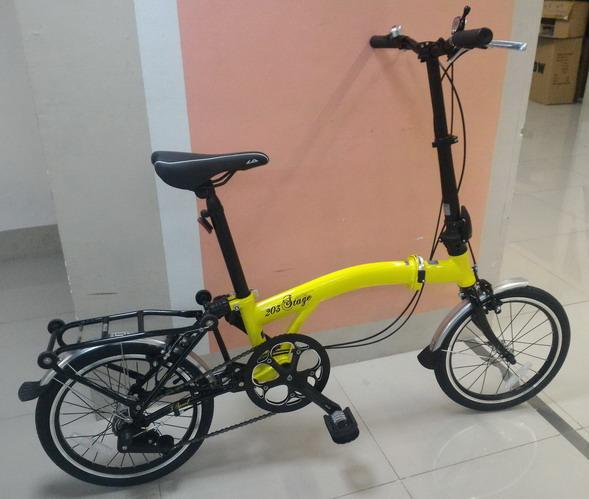 จักรยานพับ LA NEO Stage 3 Speeds สไตล์ บรอมป์ตัน สีเหลือง
