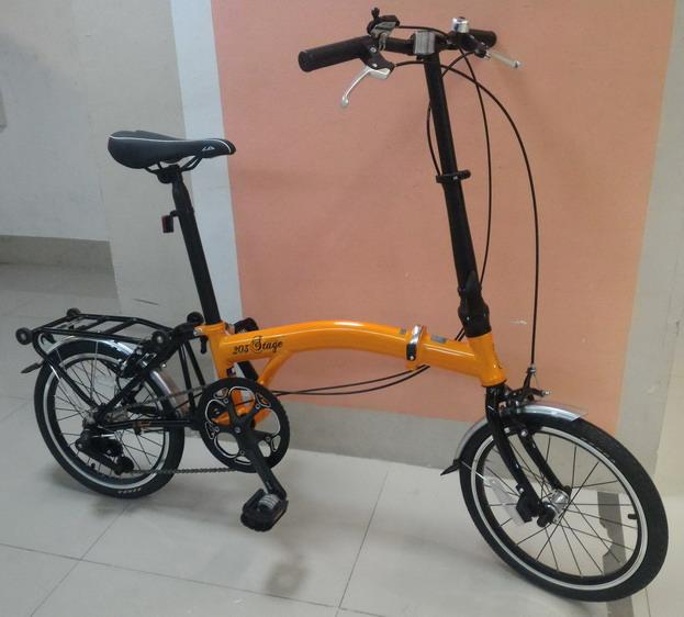 จักรยานพับ LA NEO Stage 3 Speeds สไตล์ บรอมป์ตัน สีส้ม