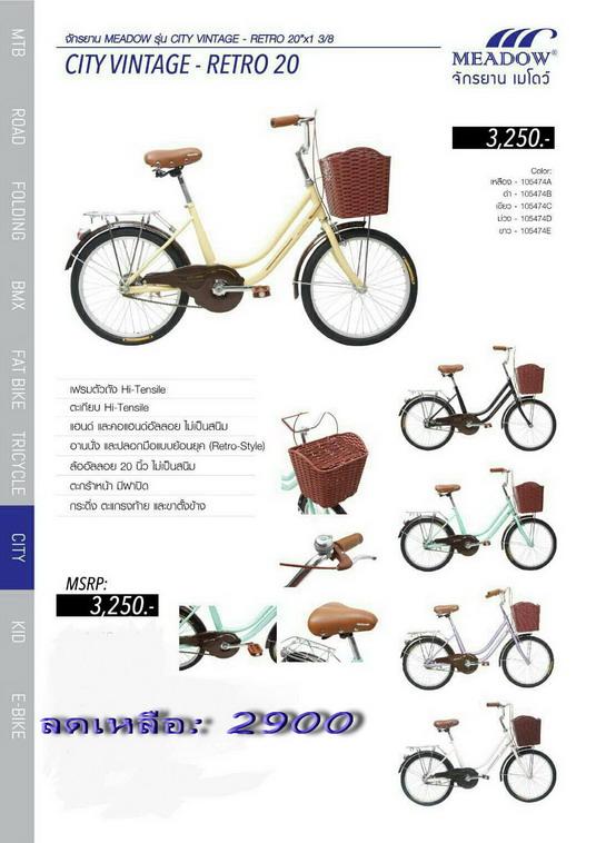 จักรยานแม่บ้าน Meadow รุ่น City Vintage Retro 20x1 3/8 วงล้อ 20 นี้ว