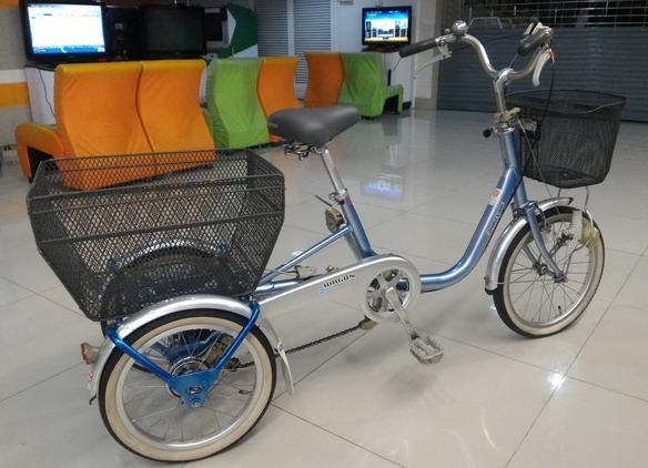 จักรยานสามล้อ เฟรมอลูอย่างดี พร้อมเกียร์ดุม 3 สปีด เฟรมสีฟ้า ยี่ห้อ บริดสโตน